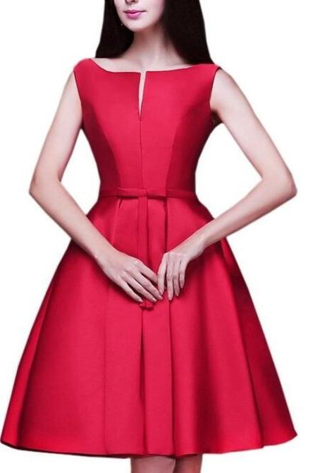 New Arrival Red Satin A Line Short Bridesmaid Dress With Sash Fashin Women Party Gowns ,Beauty Maid Of Honor Gowns Fashion Summer Dress