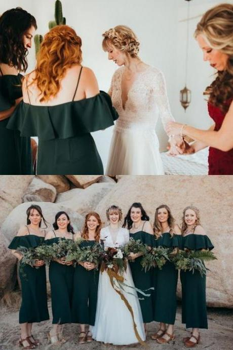 Spaghetti Straps A Line Dark Green Chiffon Tea -Length Bridesmaid Dress Off Shoulder Women Maid Of Honor Gowns