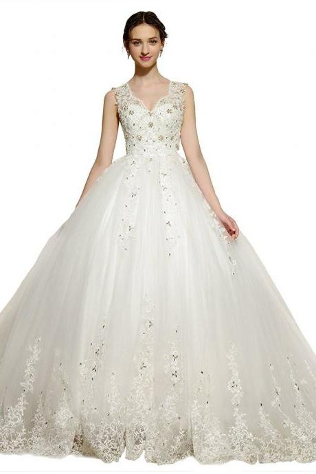 Plus Size Ivory V-Neck Tulle Wedding Dresses Pricess, Women Bridal Gowns