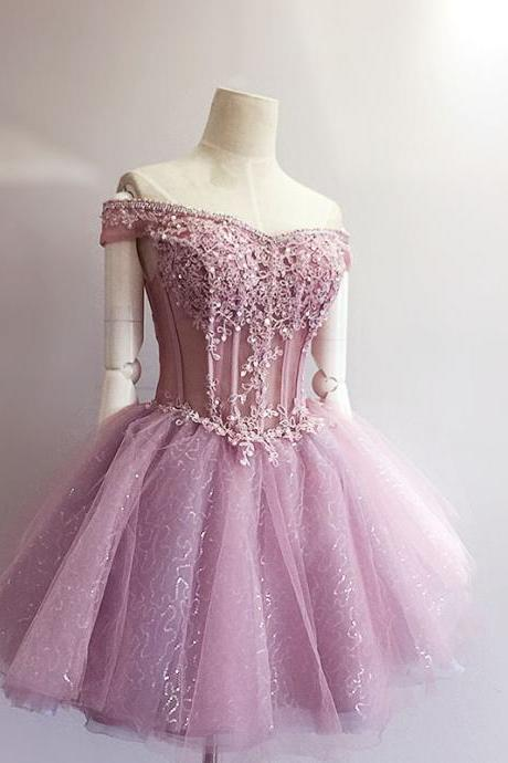 Sexy Light Purple Lace Beaded Short Homecoming Dress Ball Gown Women Prom Gowns ,Off Shoulder Cocktail Gowns ,Cheap Party Gowns