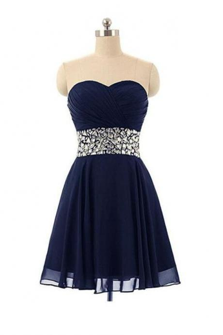 A Line Navy Blue Chiffon Short Homecoming Dress Crystal beaded Mini Prom Gowns , Women Party Gowns