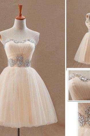 Light Champagne Beaded Tulle Short Homecoming Dresses Ball Gown Mini Cocktail Party Gowns ,Sweet 16 Prom Dress