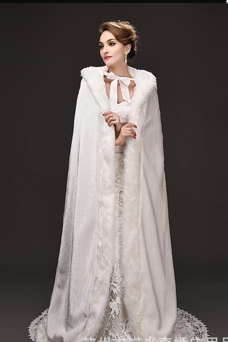 Vintage Ivory Warm Winter Wedding Jackets Faur Fur Long Coats For Wedding ,Cheap Bridal Shawel Wrap For Bridal