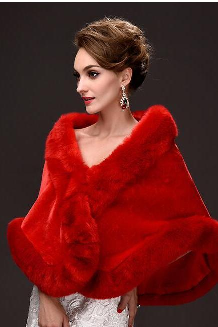 Vintage Red Warm Winter Wedding Jackets Faur Fur Short Coats For Wedding ,Cheap Bridal Shawel Wrap For Bridal