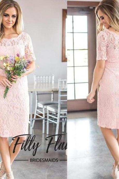 Vintage Light Pink Lace Homecoming Dress Short Square Neck Women Cocktail Gowns , Sheath Prom Dress Knee Length