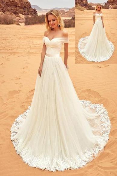 Cheap White Chiffon Bohemian Wedding Dress A Line Wedding Gowns ,Long Bridal Gowns
