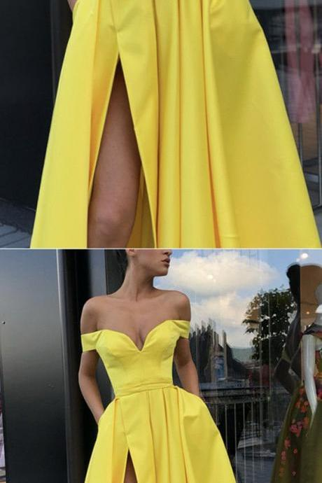 New Arrival Yellow Satin Pleated Long Prom Dress A Line Prom Gowns With Side Split Formal Evening Dresses