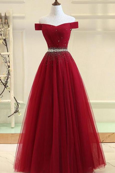 Shiny Beaded Burgundy Tulle Long Prom Dress A Line Prom Party Gowns Women Prom Dresses