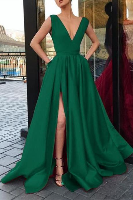 High Split Dark Green Satin Long Prom Dress Sexy V-Neck Prom Gowns Custom Made Formal Evening Dress