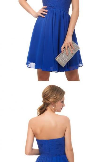 Off Shoulder Royal Blue Chiffon Short Bridesmaid Dress A Line Maid Of Honor Gowns ,Cheap Bridesmaids Dresses Short