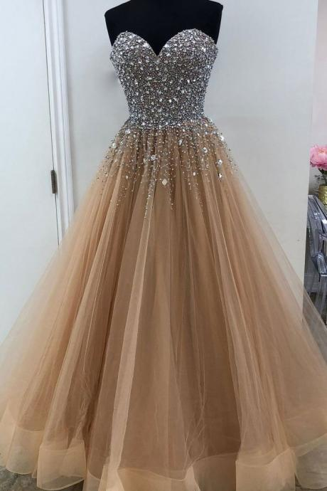 Luxury Beaded Crystal Corset Long Prom Dress, Off Shoulder Prom Dresses, Sweet 16 Prom Gowns