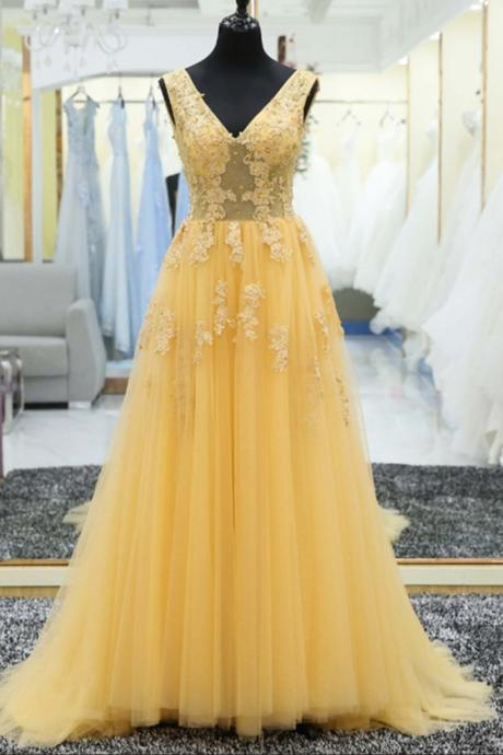 Yellow Beaded Off The Shoulder Prom Dress V-Neck Tulle Women Prom Gowns Custom Made Evening Party Gowns 2019
