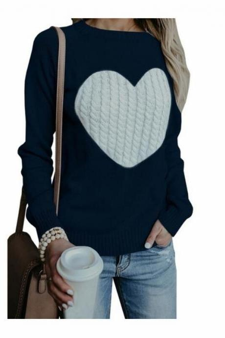 New Arrival Black Women Winter Autumn Sweather With Print Heart Long Sleeve Sweater ,Loose Pullover Knit Sweater