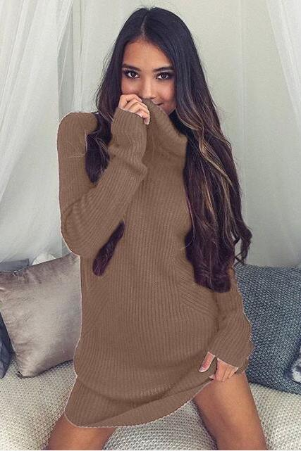 Women Winter Autumn Sweather Long Sleeve Sweater Pullover Knit Sweater,Boycon Sweater ,High Neck Women Sweater Dress .