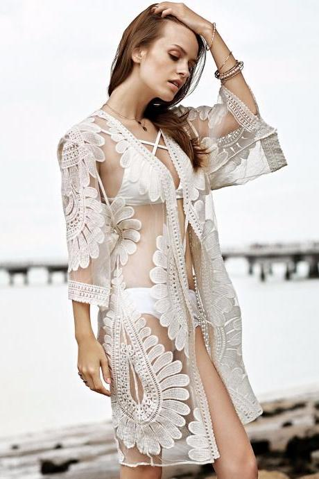 New Arrival Girls Beach Dress Cover Up Swimsuits , Swimwear White Lace Party Gowns , Tea Length Beach Dress