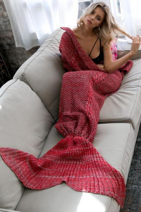 Beauty RED Knitted Mermaid Blanket, Female Warm Blanket, Girls Gifts For Christms