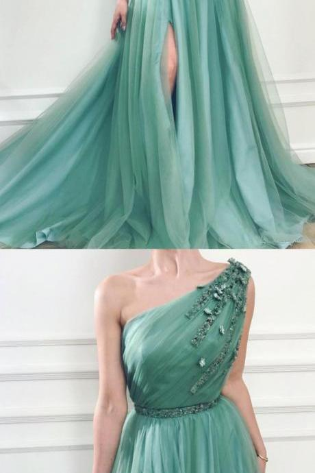 Green Tulle Long Prom Dress One Shoulder Bridesmaid Dress A Line Women Pageant Gowns ,High Split Evening Dress ,Beaded Party Dress