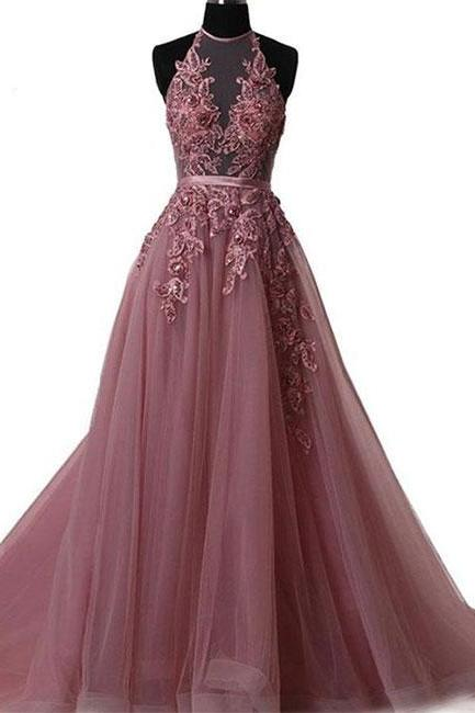 Sexy High Neck Lace Prom Dress A Line Tulle Formal Evening Dress, Plus Size Off Shoulder Long Prom Gowns ,