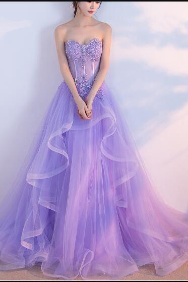 Sexy Lavender Sweet Tulle 16 Prom Dress A Line Women Party Gowns Plus Size Women Prom Dresses, Wedding Guest Gowns