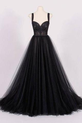Spaghetti Straps Black Tulle Ball Gown Prom Dress, Strapless Women Evening Dress, Fashion Sexy Pricess Prom Gowns
