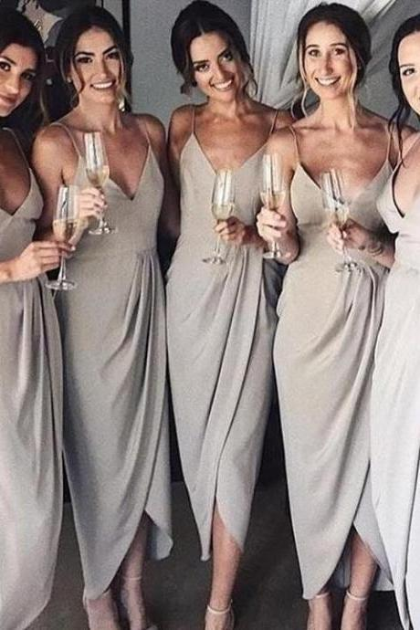Simple Tea Length Gray Chiffon Bridesmaid Dress 2019 Custom Made Women Party Gowns ,Short Bridesmaid Gowns