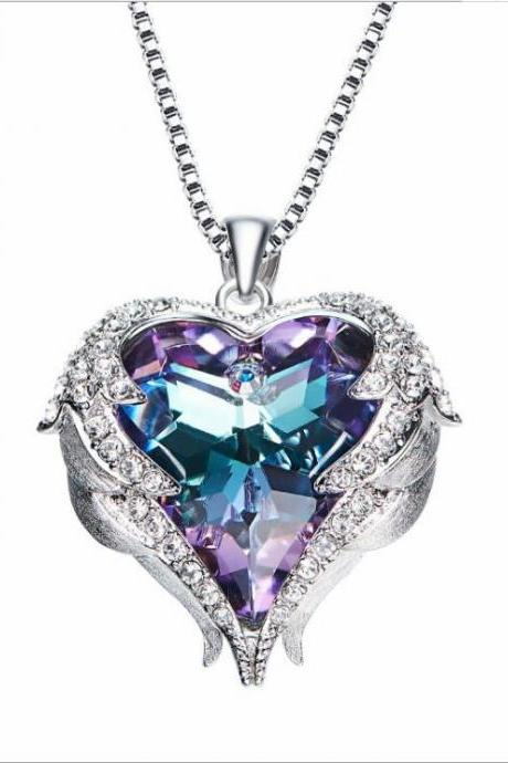 Crystals from Swarovski Necklaces Fashion Jewelry For Women Pendant 2018 Rhinestone Heart Of Angel Christmas Gifts,Beauty Purple Necklace