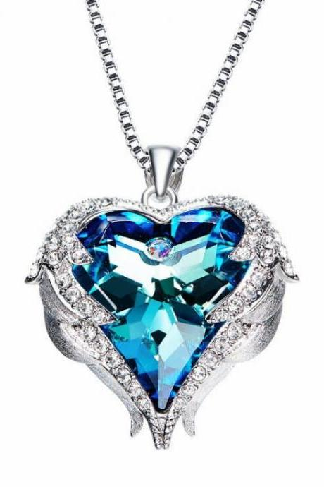 Crystals from Swarovski Necklaces Fashion Jewelry For Women Pendant 2018 Rhinestone Heart Of Angel Christmas Gifts,Beauty Blue Necklace