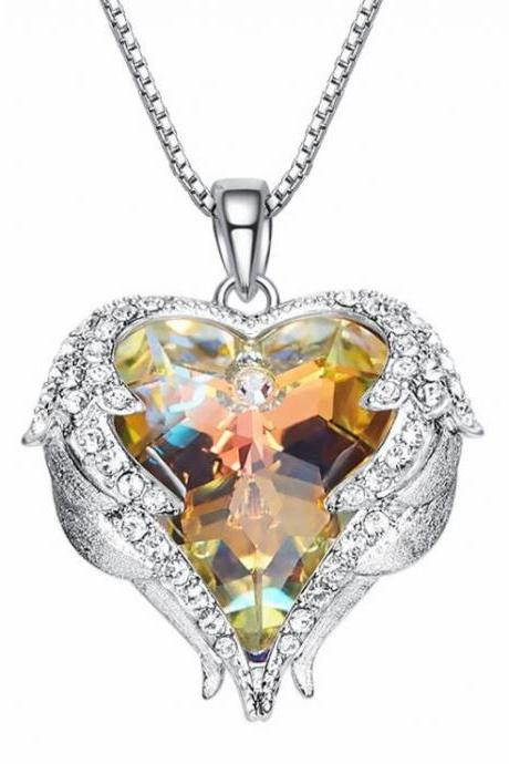 Crystals from Swarovski Necklaces Fashion Jewelry For Women Pendant 2018 Rhinestone Heart Of Angel Christmas Gifts,Beauty Gold Necklace