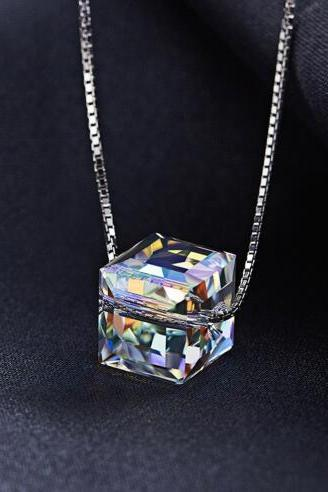 Crystals from Swarovski Jewelry Chic Mixed Color S925 Sterling Silver Necklaces Women Pendant Fashion Elegant Bijous ,Women Necklaces With Pendant