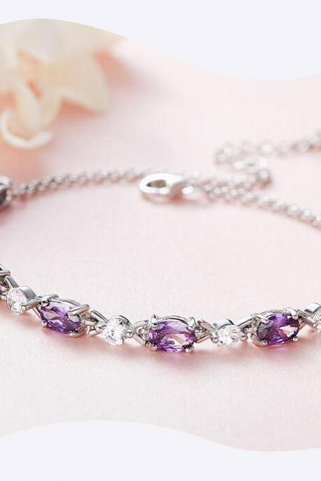 Women S925 Sterling Silver Bracelet Luxury violet Paved Option Link Chain Purple Bijoux Fashion Jewelry 2019