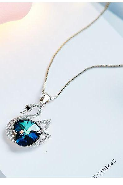 Crystals from Swarovski Necklace Women Pendants S925 Sterling Silver Jewelry Blue Swan Shape Bijoux New 2019 Women Jewelry
