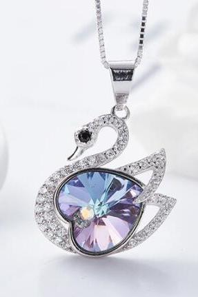 Crystals from Swarovski Necklace Women Pendants S925 Sterling Silver Jewelry Purple Swan Shape Bijoux New 2019 Women Jewelry