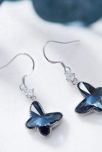 Crystal For Swarovski Earrings Blue Butterflies For Women Heart Drop S925 Silver Jewelry , Beauty Earrings , Women Earrings
