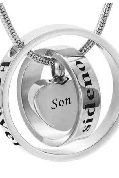 Custom personality is different to call the ring heart urn funeral pyre funeral pyre necklace fashion jewelry pendant For SON