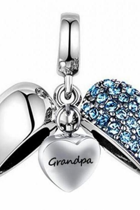 Unique call heart urn funeral ashes Grandpa cremation necklace fashion jewelry accessorues