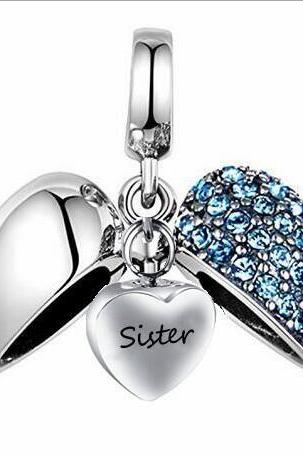 Unique call heart urn funeral ashes Sister cremation necklace fashion jewelry accessorues