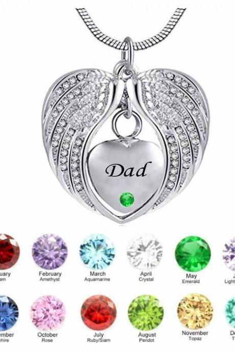 DAD Angel Wing Birthstone Cremation Urn crystal Necklace Heart Memorial Pendant Stainless Steel Jewelry