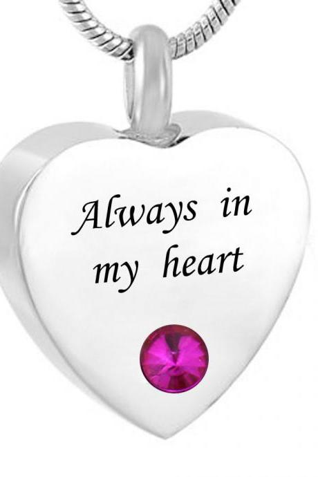 Cremation Jewelry Waterproof Always In My Heart ' Heart Urn Pendant Memorial Ash Keepsake Necklace