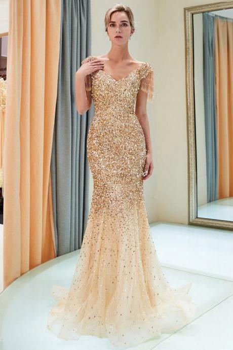 Sparkly Gold Sequin Beading Mermaid Prom Dress With Short Sleeve Fashion Women Prom Gowns Custom Made