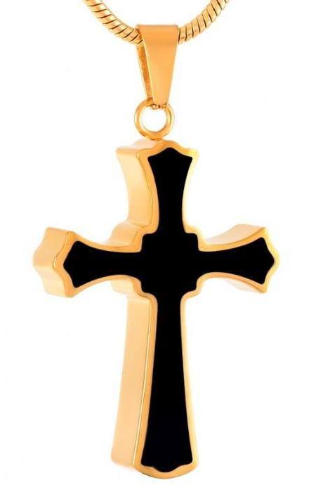 Stainless Steel Cross Gold memorial ash necklaces pendants cremation jewelry for men with Chain Funnel