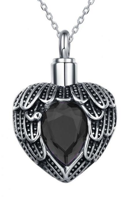 Hold Heart Urn Cremation Jewelry Blue Rhinestone Urn Pendant for Pet/Human Ashes Cremation Urn Ashes Holder