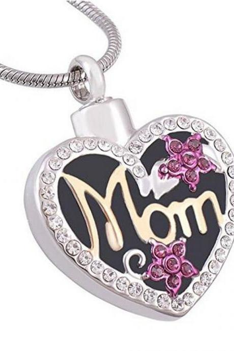Eternally Loved Mom in Heart Engrave able Cremation Necklace Two Tone Ashes Urn Memorial Pendant Jewelry for Women suit