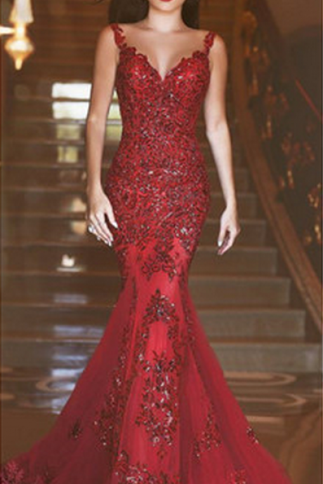 New Arrival Burgundy Tulle Lace Mermaid Wedding Dress , Off Shoulder Burgundy Appliqued Long Prom Gowns , Women Bridal Gowns
