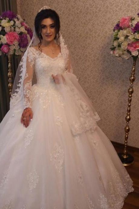 Sexy V-Neck Ball Gown White Lace Wedding Dress ,Custom Made Pricess China Country Wedding Dresses With lONG sLEEVE
