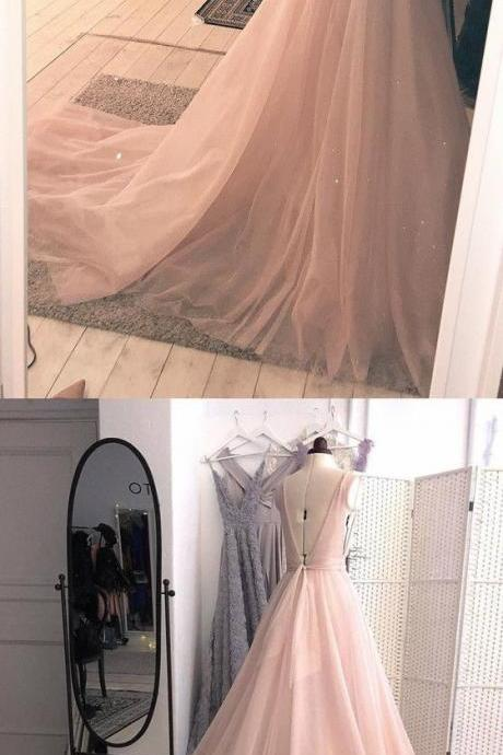 Sexy V-Neck Light Pink Tulle Prom Dress Plus Size V-Neck Prom Party Gowns Custom Made Women Evening Dress, A Line Cheap Long Evening Gowns