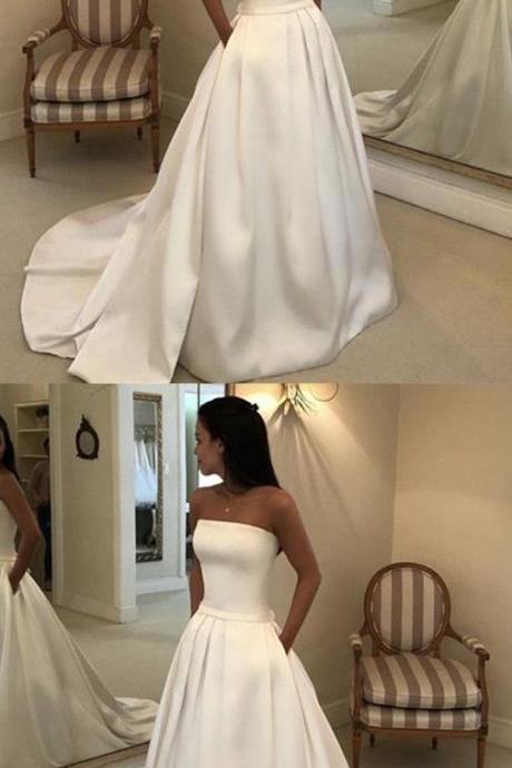 Famous A Line White Satin Wedding Dress Sweep Train High Waist Bridal Party Gowns ,Country Wedding Gowns
