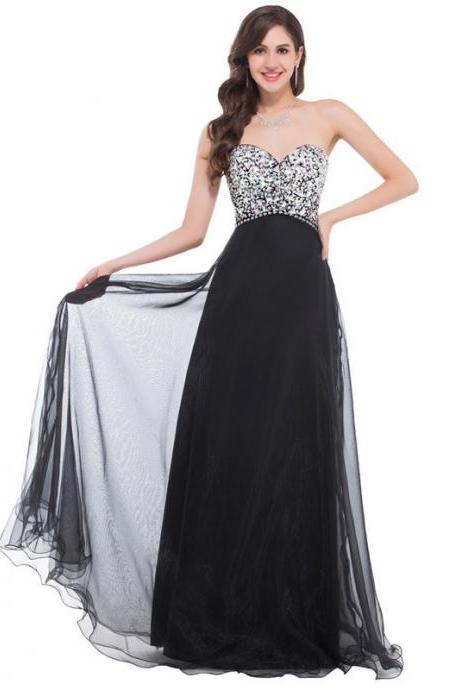 Black Chiffon Long Prom Dress With Beaded Crystal A Line Women Evening Party Gowns ,Custom Made Women Party Dress