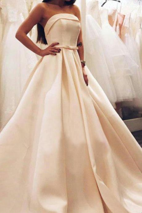 Cheap Light Champagne Satin Long Prom Dress , Plus Size Prom Gowns ,Custom Made Women Party Gowns ,