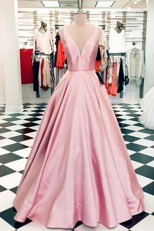 Cheap V-Neck Pink Satin Long Prom Dress Plus Size Women Party Gowns , A Line Women Gowns ,Formall Evening Dress