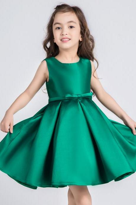 Cheap A Line Green Satin Short Flower Girl Dresses With Bow Scoop Neck Mini Prom Party Dress .